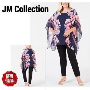 JM Collection  Printed Chiffon Poncho Sz 2X